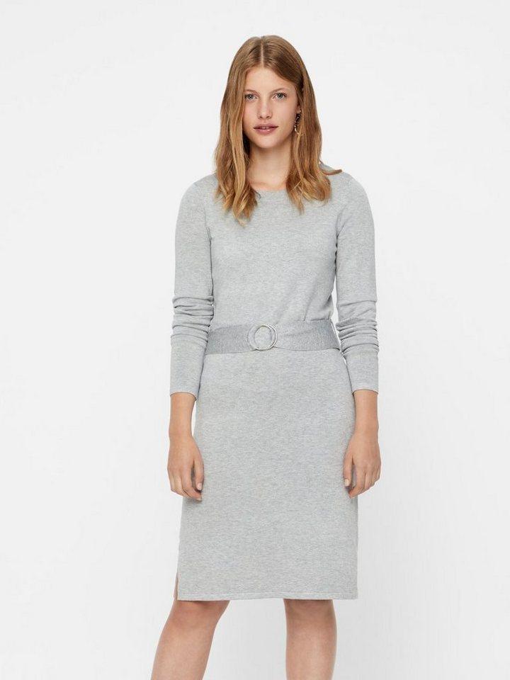 Vero Moda Met riem gebreide jurk grijs