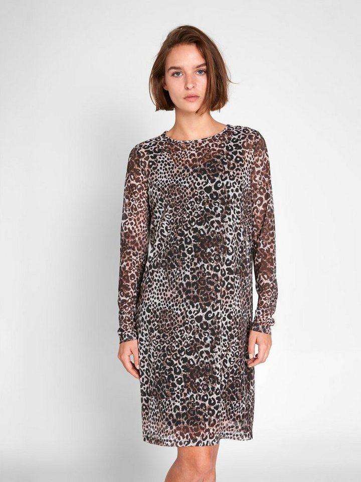 Pieces Luipaardprint jurk met lange mouwen zwart