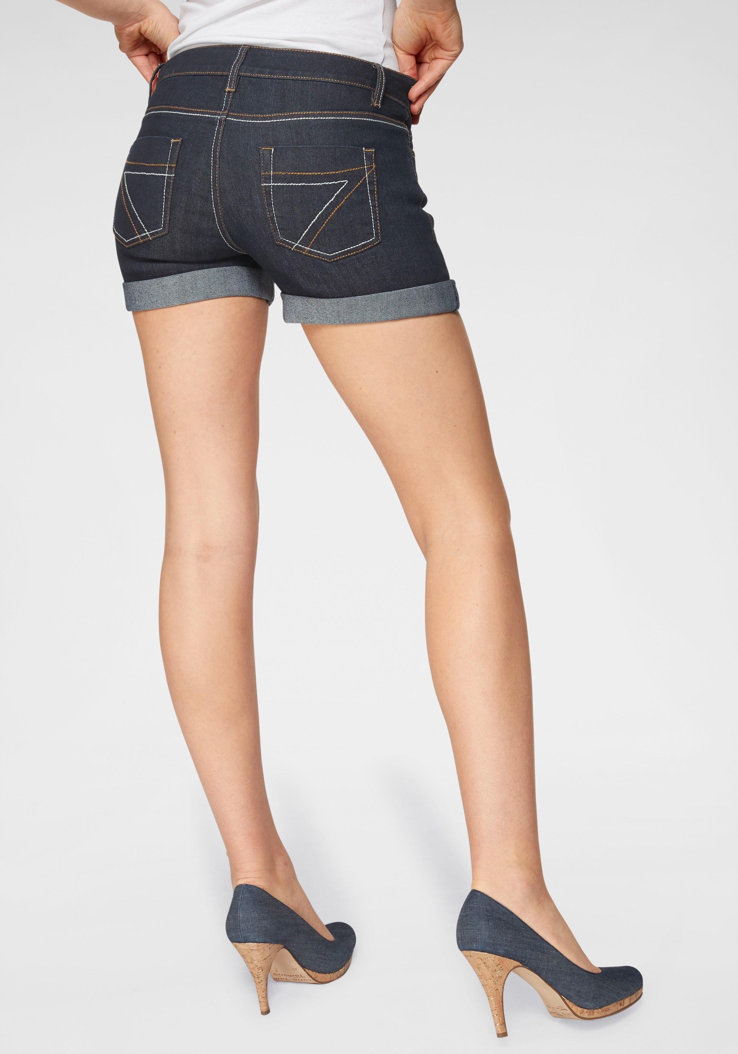 Arizona jeansshort Contrastnaden Mid Waist - als short of bermuda te dragen online kopen op otto.nl