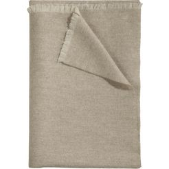 curt bauer wollen deken leino met fijne franjes beige