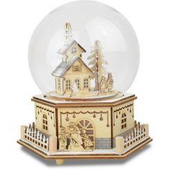 led-speeldoosje in glazen stolp, »huis met kinderen« beige