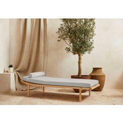 leger home by lena gercke bank celia met bekleding en kussenrol, stretcher met massief houten frame daybed grijs