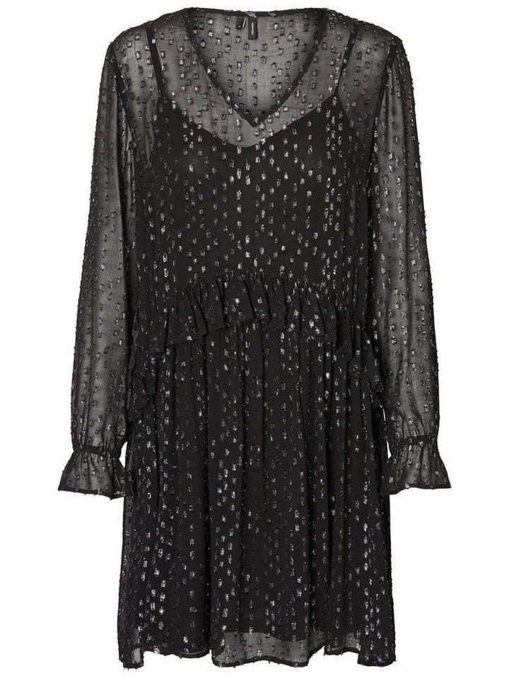 Vero Moda Glitter gestippelde jurk met lange mouwen zwart