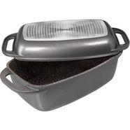 rechthoekige ovenschaal met gietaluminiumdeksel, stoneline grijs