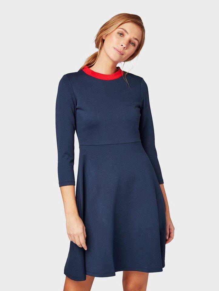 Tom Tailor blousejurkje jurk met contrast-hals blauw