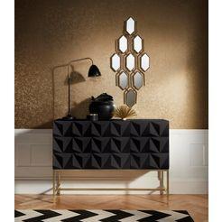 leonique dressoir rovuma in 3d-look en met goudkleurig metalen frame zwart