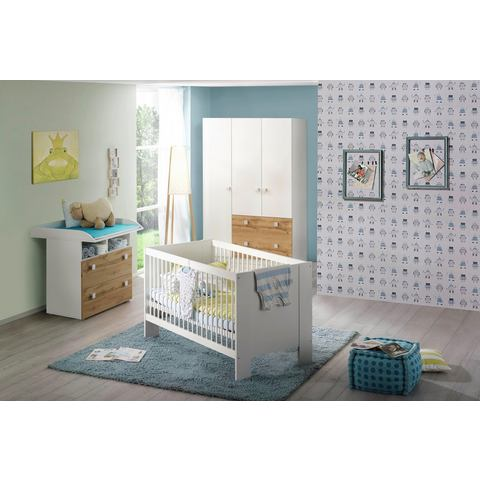 Babykamer voordeelset 3-delig Hiddensee ledikantje + commode + 3-deurskast