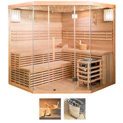 homedeluxe sauna »skyline xl big«, 200x200x210 cm, 8 kw kachel met int. bediening beige