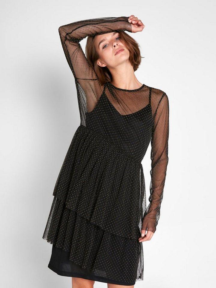Pieces Korte mesh jurk met lange mouwen zwart