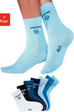 h.i.s sokken voor kinderen met voetbalmotief (7 paar) blauw