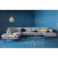 couch zithoek »levon«, in moderne look, met metalen poten grijs