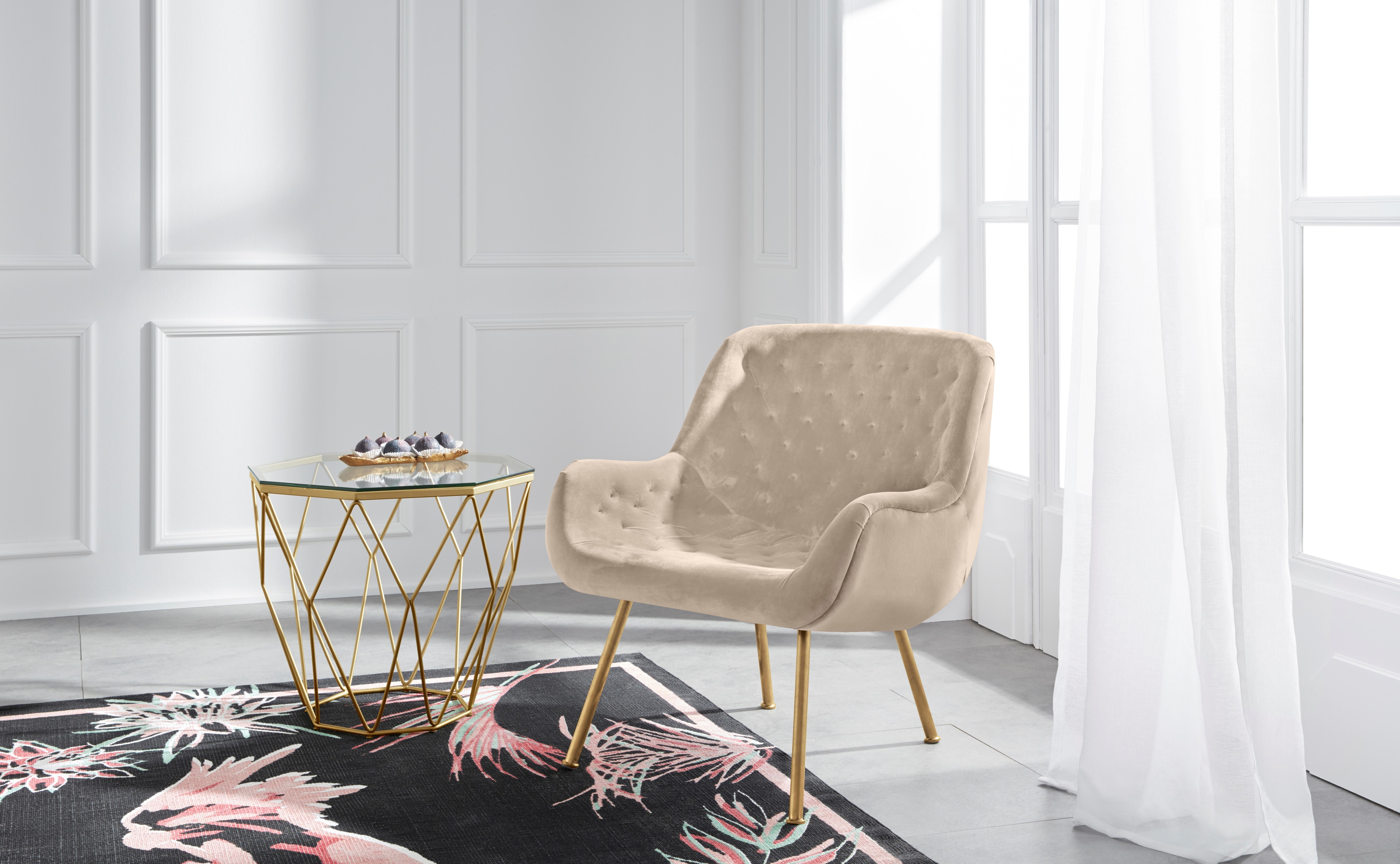 Guido Maria Kretschmer Home&living GMK Home & Living fauteuil »Roubaix« met velvetbekleding en in Chesterfield-look op rug en zitting online kopen op otto.nl