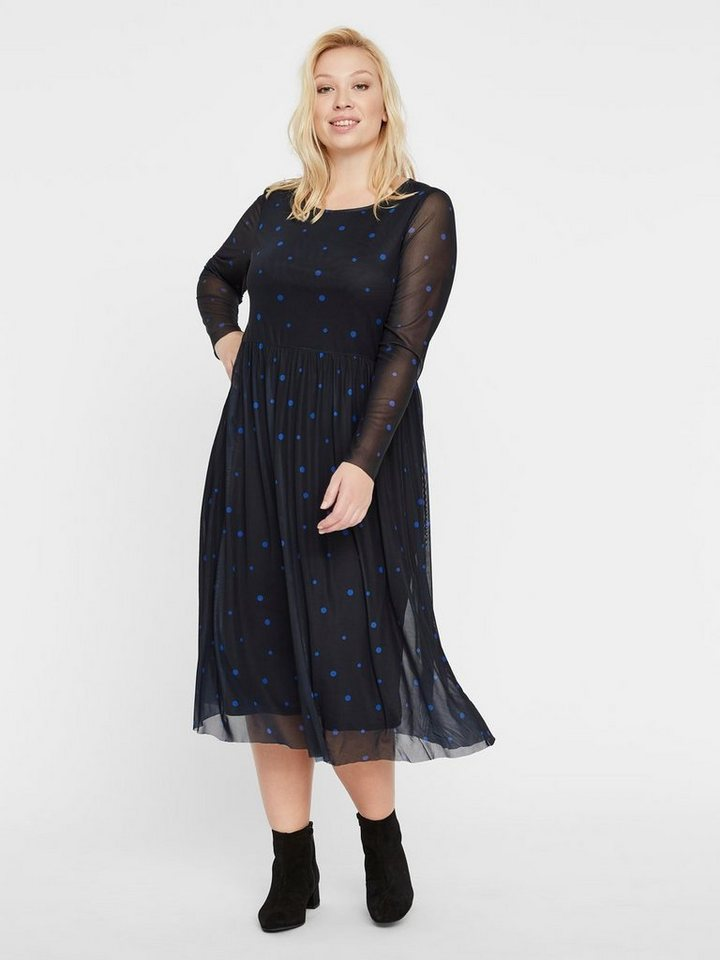 Junarose Gestippelde mesh jurk blauw