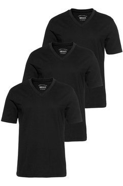 man's world shirt met v-hals (set van 3) zwart
