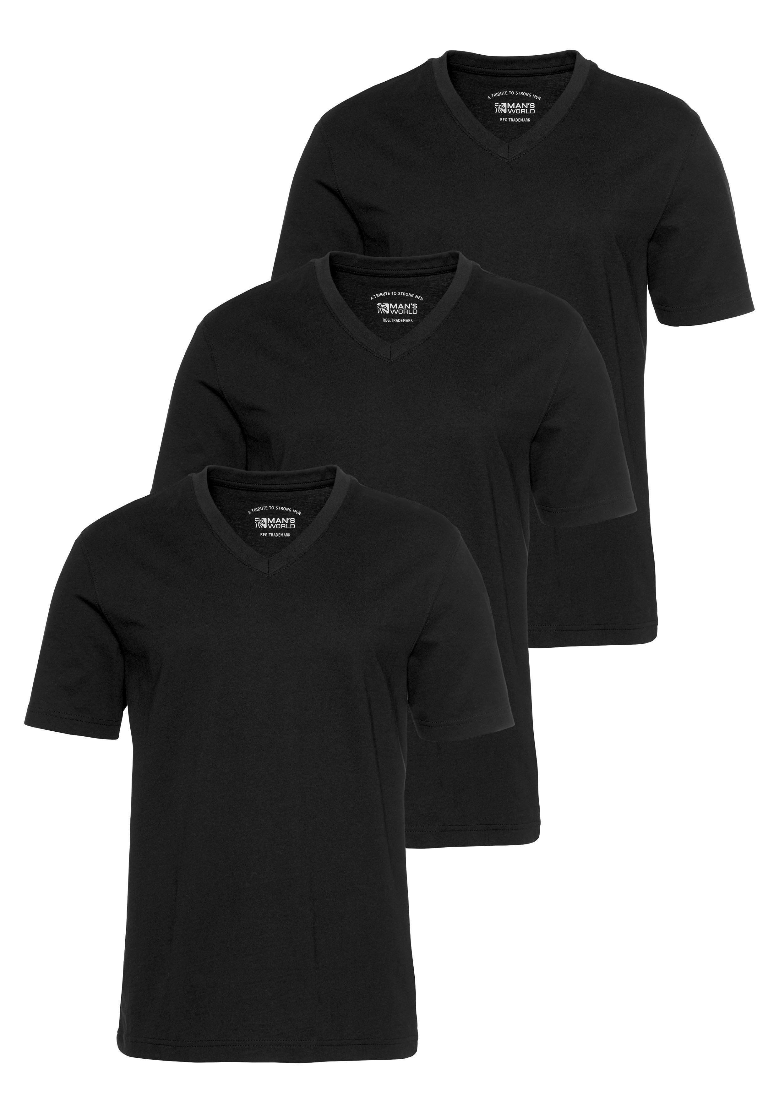 Man's World shirt met V-hals (set van 3) voordelig en veilig online kopen