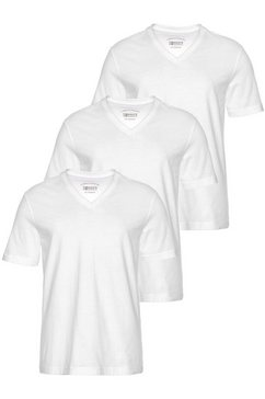 man's world shirt met v-hals (set, 3-delig, set van 3) wit
