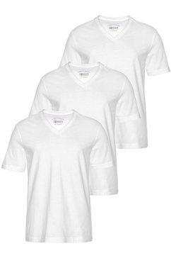 man's world shirt met v-hals (set van 3) weiß