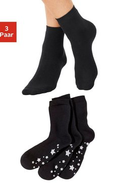 abs-sokken (3 paar) met antislipzool in sterrendesign zwart