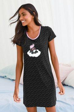 nici nachthemd in stippenmotief met eenhoorn-print zwart