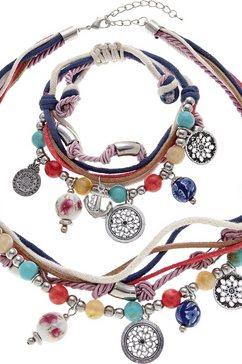 lascana sieradenset ketting en armband met heel veel hangertjes blauw