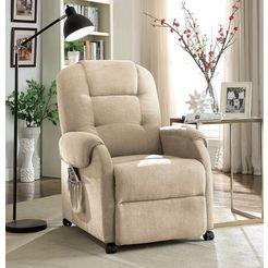 atlantic home collection relaxfauteuil inclusief relaxfunctie en veerkern beige