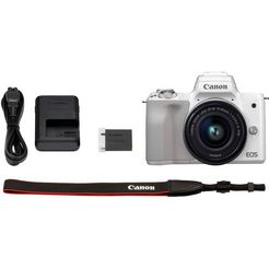 canon »eos-m50 ef-m15-45 kit« systeemcamera (ef-m 15-45, 24,1 mp, nfc wifi bluetooth) wit