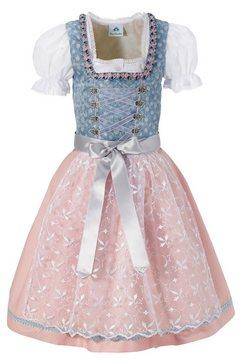 isar-trachten dirndljurk kinderen met transparante kanten schort, 3-delig blauw