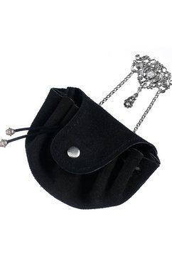 kabe leder accessoires folkloretasje met broche-sluiting zwart