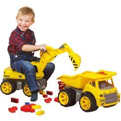 big speelgoed graafmachine big power worker maxi digger graafmachine om op te zitten, made in germany geel