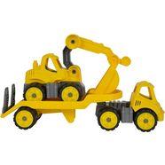 big speelgoedauto, »big power worker mini transporter en graafmachine geel« (2-dlg.) geel