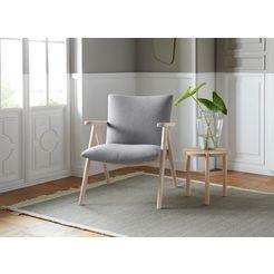 andas fauteuil »dreyer« met onderstel van massief essenhout, design by morten georgsen grijs