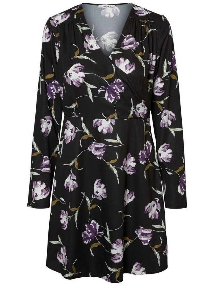 Pieces Longsleeved wikkel jurk zwart
