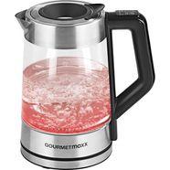 gourmetmaxx waterkoker, smart led-temperatuurkeuze, edelstaal-zwart, 1,7 liter, 2200 watt zilver