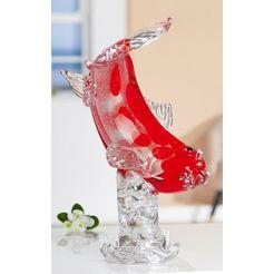 gilde glas art decoratief figuur sculptuur koikarper kohaku decoratief object, dierfiguur, hoogte 30 cm, van gekleurd glas, met de mond geblazen, woonkamer (1 stuk) rood