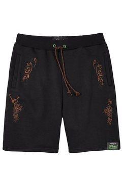 hangowear folklore-sweatbermuda heren met borduurelementen zwart