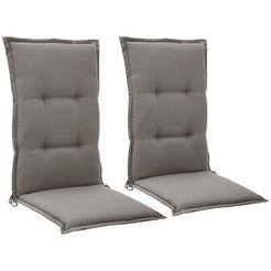 go-de kussen voor stoel met hoge rugleuning »torino«, 2er set, (lxb): ca. 120x50 cm grijs