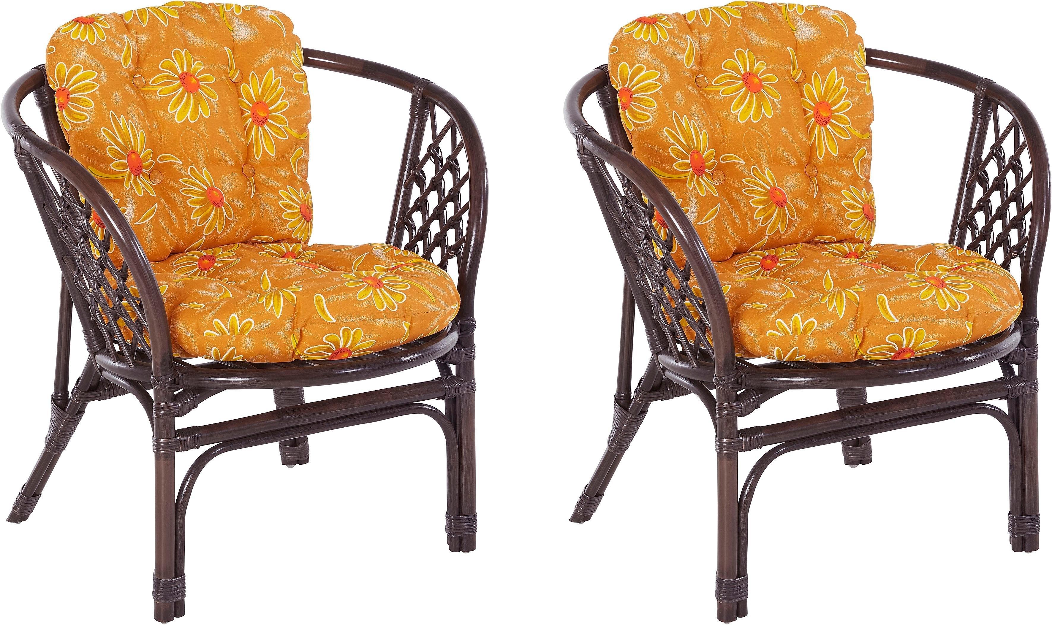 Home affaire rotanstoel Rotanfauteuil in een set van 2 van met de hand gevlochten rotan en bijpassende kussens, breedte 66 cm - verschillende betaalmethodes