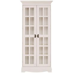 home affaire vitrinekast »eva«, 2-deurs, van massief grenen wit