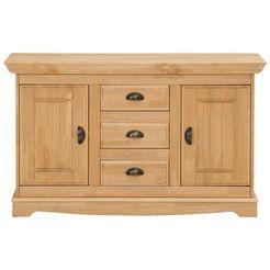 home affaire dressoir »eva«, 2-deurs, van massief grenen, breedte 115 cm beige