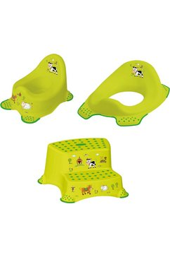 keeeper 3-delige verzorgingsset voor kinderen - potje, toiletzitting en trapkrukje, »funny farm« groen