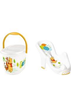 keeeper 2-delige verzorgingsset voor kinderen: badzitje en luieremmer, »winnie the pooh« wit