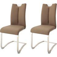 mca furniture vrijdragende stoel artos stoel overtrokken met echt leer, tot 140 kg belastbaar (set, 2 stuks) bruin