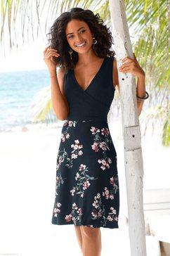beachtime strandjurk met gedessineerde rok blauw