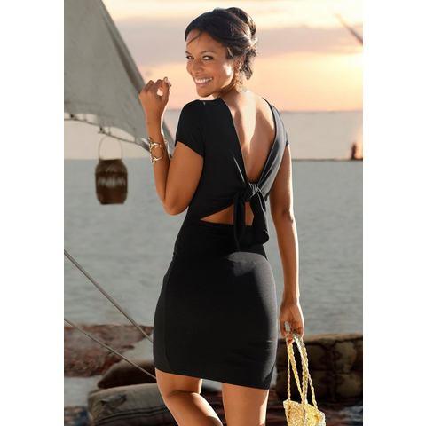 Lascana party-jurk van elastisch ribmateriaal zwart