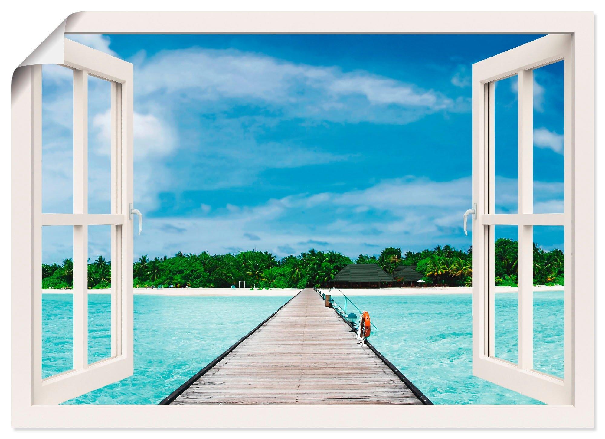 Artland artprint Blik uit het venster Maldivisch paradijs in vele afmetingen & productsoorten -artprint op linnen, poster, muursticker / wandfolie ook geschikt voor de badkamer (1 stuk) goedkoop op otto.nl kopen