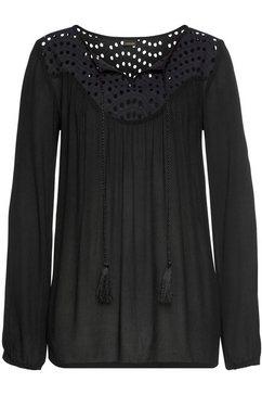 lascana crêpe-blouse met broderie anglaise zwart