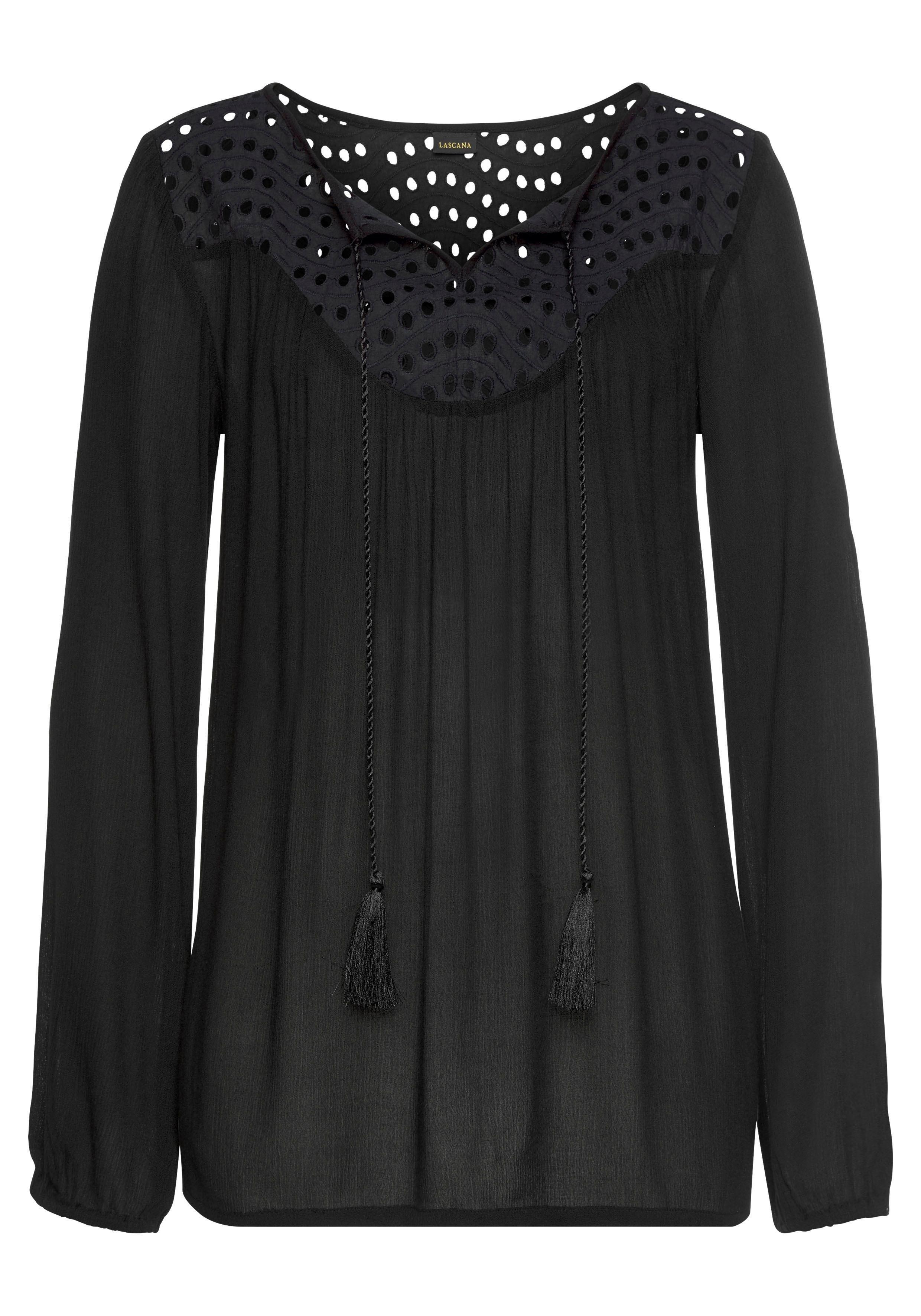 Lascana Crêpe-blouse met broderie anglaise bij OTTO online kopen
