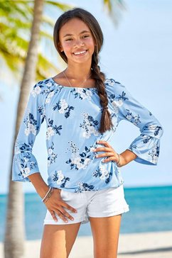 arizona shirt met 3-4-mouwen met leuke bloemenprint blauw