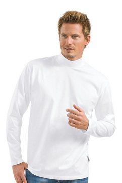 trigema shirt met lange mouwen met opstaande kraag wit
