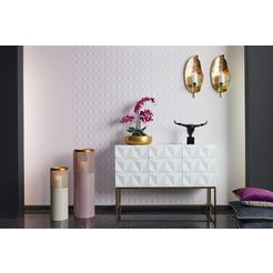 leonique dressoir rovuma in 3d-look en met goudkleurig metalen frame wit